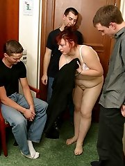 Aged redhead hooker strips and fucks guys
