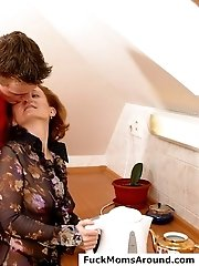 Lucky mature housewife gets her ass drilled by a teen in the kitchen