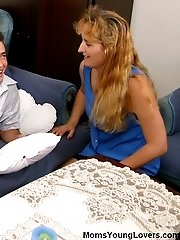 Sweet lad seduced by long-haired mommy