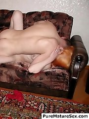 Redhead mature woman came to tell the cute man something but he just undressed her and fucked hard